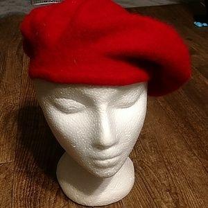 Vintage red felt beret